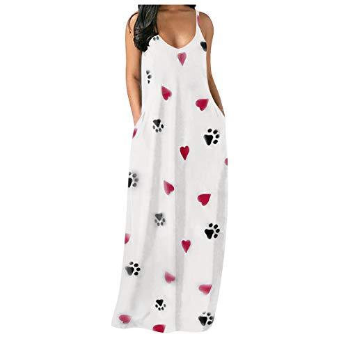 NAQUSHA Falda sin mangas para mujer, estilo holgado, informal, con bolsillo, con estampado de verano, elegante, vestido de noche