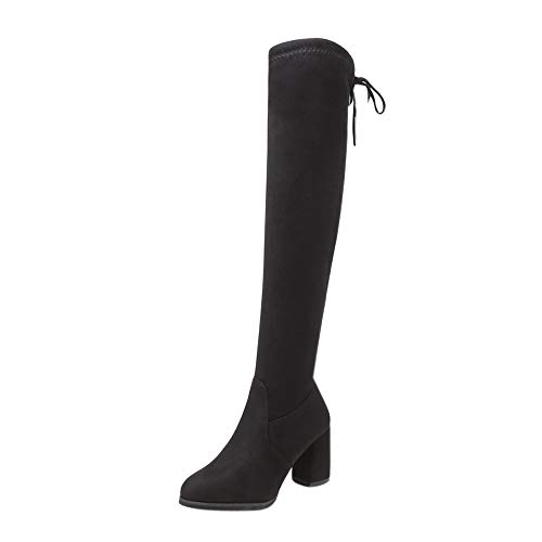 FAMILIZO Botas Mujer Botas De Mujer sobre La Rodilla Zapatos De Tacón Alto con Cordones Botas De Invierno con Cordones Otoño Botas Mujer Invierno