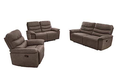 lifestyle4living Couchtgarnitur in grau-braunem Stoff bezogen mit praktischer Relaxfunktion, Garnitur bestehend aus Sessel, 2-Sitzer und 2,5-Sitzer Sofa