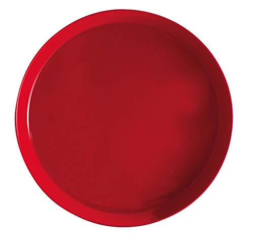 Serviertablett Home Durchmesser 35 cm rund Rutschfest (Rot)