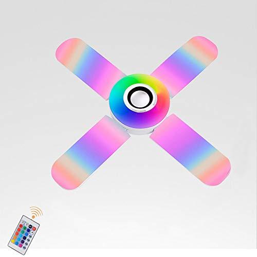 Lámpara De Techo LED Con Altavoz Bluetooth E27 Ventilador De Techo Invisible, Lámpara De Techo Con Música Que Cambia De Color RGB Con Control Remoto Regulable, Luz De Techo De Dormitorio 40W