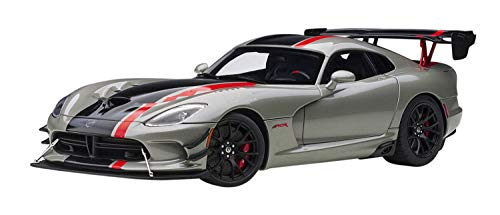 2017 Dodge Viper ACR Billet Silver Metallic with Black and Red Stripes 1/18 Model Car by Autoart 71733