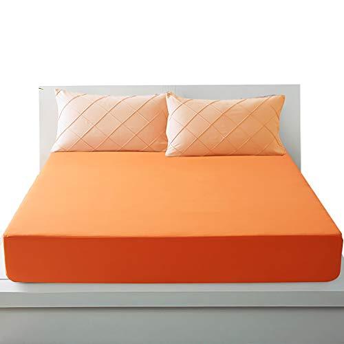 LFY Protector de colchón Protector de colchón Impermeable, Funda de Cama Transpirable y Agradable for la Piel, Funda de colchón, Funda Antipolvo (Color : Naranja, tamaño : Small Double)