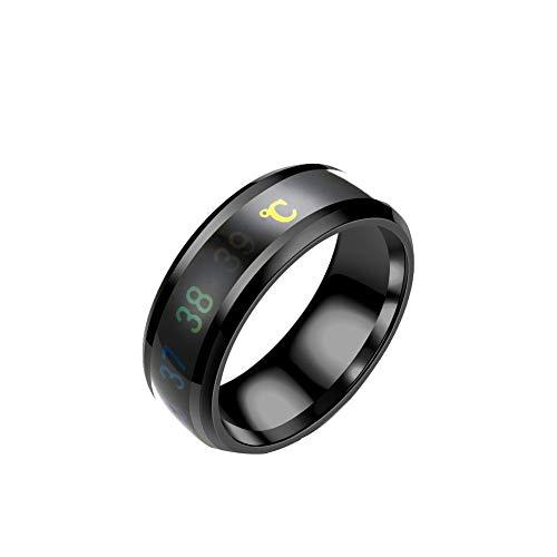 ZYJ (2ST) Multifunktionale Smart-Ring Mit Temperatursensor, Smart-Ring Für Finger Wear, Wasserdicht Farbwechsel Temperatur Ring (Schwarz),7