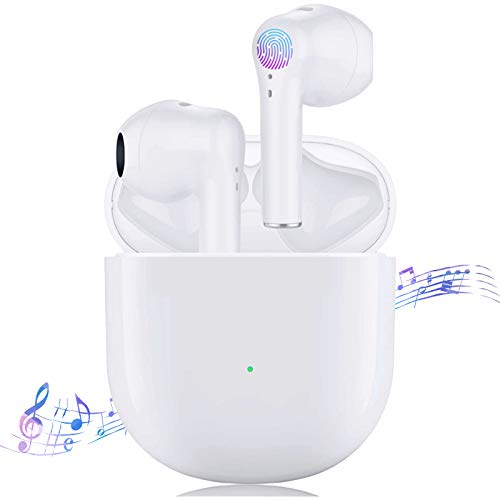 Wireless Earbuds Bluetooth 5.0 Ear buds, 3D Stereo Headphones with 24 Hours Charging Case Built-in Mic Case Pop-Up Auto Pairing IPX5 Waterproof In-Ear Earphones for iPhone/Apple Airpods/Android