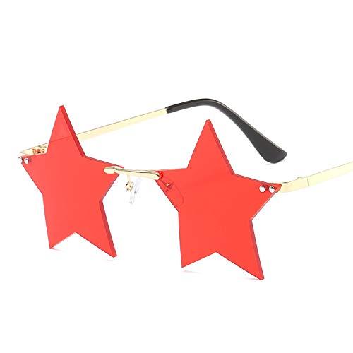 EYDLK Frameless Sunglasses Women Men Prom Party Sun Glasses Unique Personalized Pentagram Glasses Five Stars Sun Mirror light Red