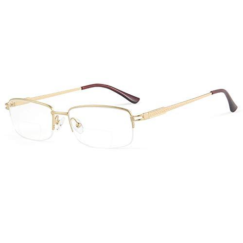CXNEYE Gafas De Lectura Antifatiga Anti Blue Ray, Montura De Gafas Ultraligeras para Hombres, Gafas De Ordenador para Presbicia con Aumento, Gafas