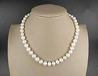 8 mm AAA White Pearl Necklace Anti allergy Silver Buckle Necklace Jewelry for Woman