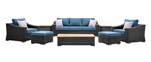 La-Z-Boy Outdoor New Boston 8 Piece Wicker Patio Set: Sofa, Two Lounge Chairs, Two Ottomans, Coffee Table and Two Side Tables (Denim Blue)