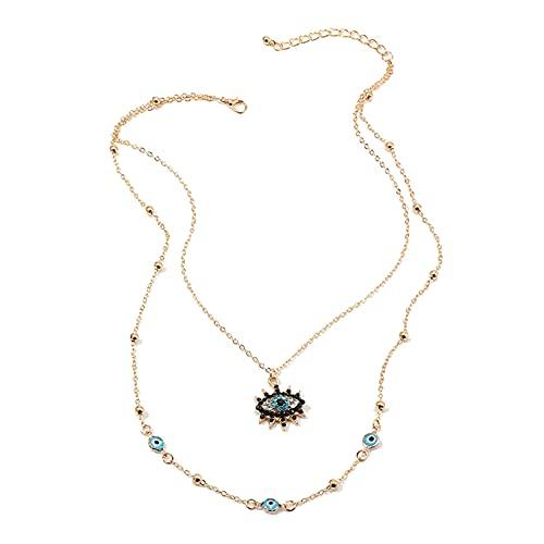 Sttiafay Collar con colgante de ojo maligno con incrustaciones de diamantes de imitación y collar turco de la suerte para mujeres y niñas