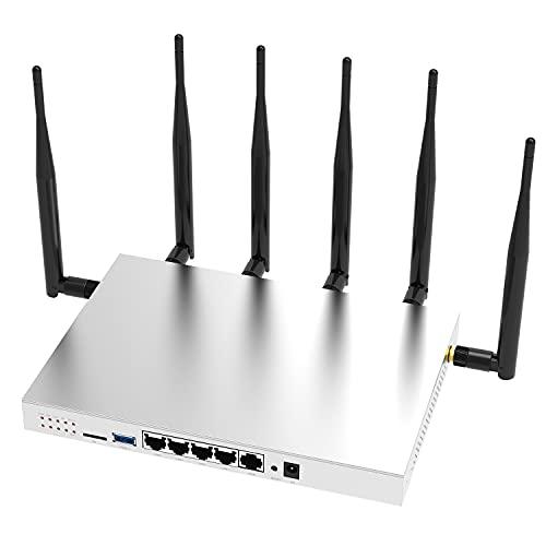 Zbtlink WG3526 4G LTE Router AC1200 Dual Band Cat6 Gigabit WiFi 4G Wireless Router with Industrial Grade Metal Case/Detachable External 6×5dBi Antennas/SIM Card Slot Unlocked Router USB 3.0 Port