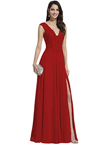 Noras dress Women Chiffon Split Prom Dress Long Red Plunge V Neck Party Ball Gowns for Evening Formal Red 16