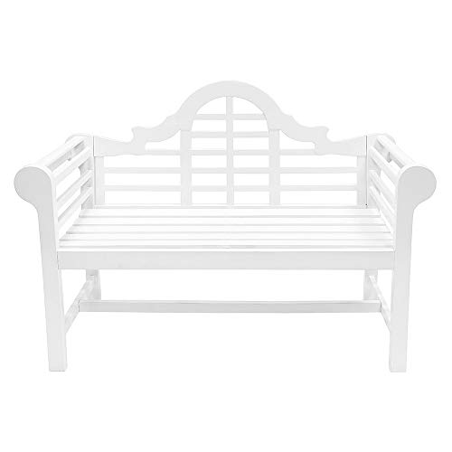 achla outdoor benches Achla Designs OFB-01W Lutyens Indoor/Outdoor Garden Bench, White, 4 ft