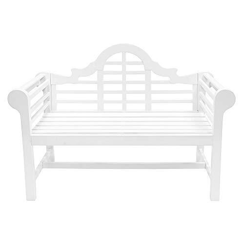 Achla Designs OFB-01W Lutyens - Banco de jardín para Interiores y Exteriores, Color Blanco, 1,2 m