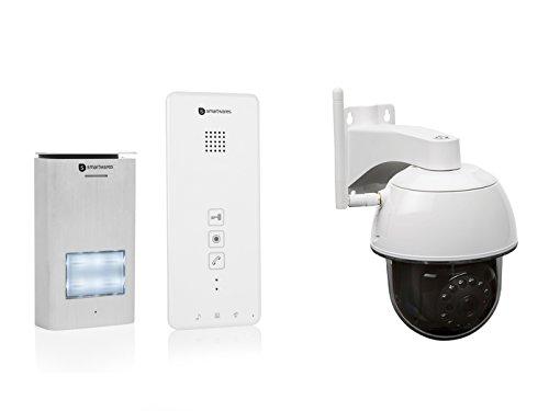 Set: intercominstallatie + draadloze buitencamera met nachtzicht en app-besturing.