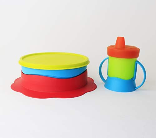 Baby TupperCare Teller + Kinder Trinklernbecher 200 ml grün orange blau Schnabelbecher + Geschen