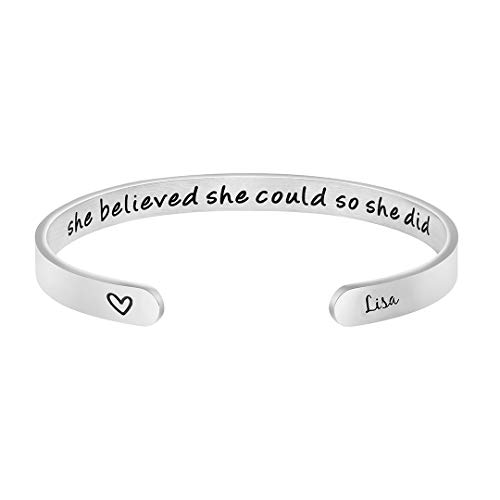 Lisa Personalized Name Bracelets for Women Engraved Mantra Cuff Bangle Inspirational Gifts for Teen Girls Daughter Wife Girlfriend Sister Best Friend Mom Bridesmaid Nurse Graduation Gifts for Her