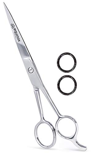Equinox Professional Shears with Finger Rest and Finger Inserts - Ice Tempered Barber Hair Cutting...