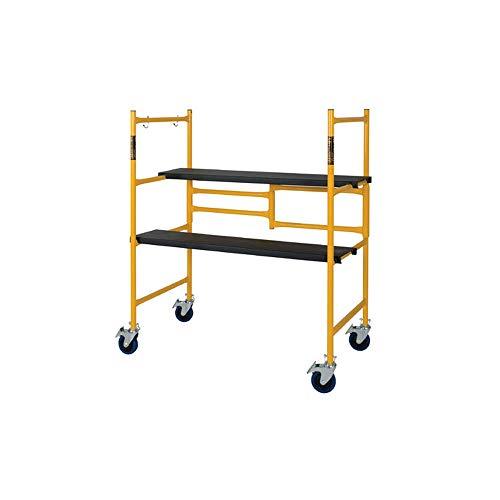 MetalTech 4 Foot High Portable Adjustable Platform Basic Mini Mobile Scaffolding Ladder with Locking Wheels