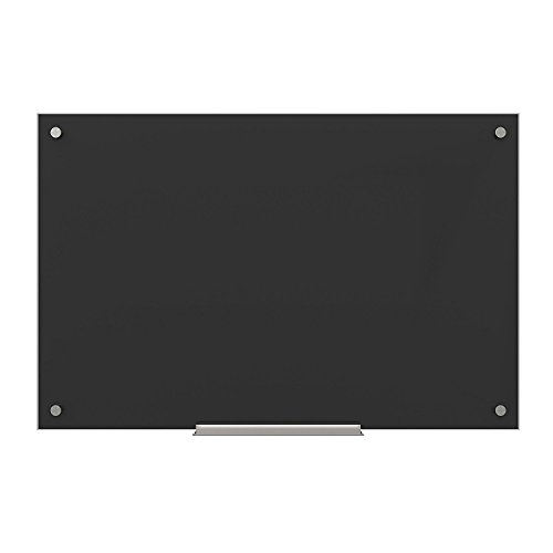 U Brands Glass Dry Erase Board, 35 x 23 Inches, Black Non-Magnetic Surface, Frameless - 170U00-01