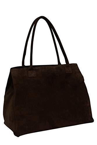 AMBRA Moda Damen Wildleder Handtasche Schultertasche Shopper WL810 (Dunkelbraun)