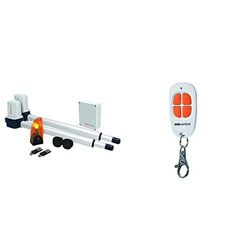 SCS Sentinel Opengate 1 - Motorización de Gato para Puerta Corredera, 24 V + Sentinel AAM0094 - Mando a distancia para puerta de garaje 4 canales, color naranja