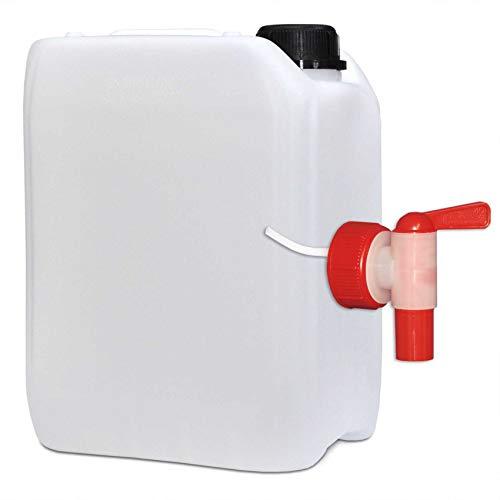 5 Liter Kanister mit Auslaufhahn Wasserkanister schwere Qualität 260 g lebensmittelecht extrem robust und langlebig UN Zulassung
