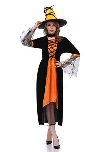 XSQR Halloween Cosplay Mujer Bruja Festival Fantasma Maquillaje Disfraz Amarillo Vestido,Orange,M