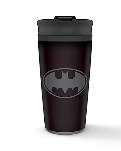 Batman Metal Travel Mug Coffee-To-Go-Becher Logo - schwarz, bedruckt, aus doppelwandigem Edelstahl.