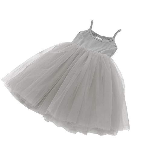 Baby Girls Tutu Dress Sleeveless Infant Toddler Sundress Tulle Bubble 5 Layers Gray