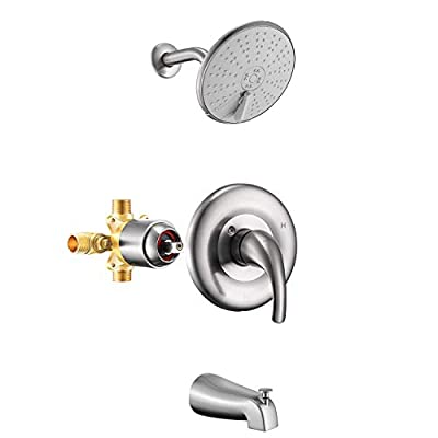 Holispa Brushed Nickel Shower Faucet, Tub and Shower Faucet Set with 6-Inch Three Setting Spray Rain Shower head, Pressure Balance Valve Kit with Trim and Diverter for Bathroom