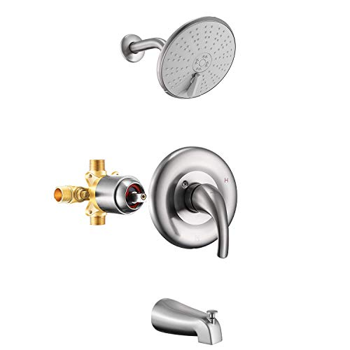 Holispa Matte Black Shower Faucet, Tub and Shower Faucet Set with 6-Inch Three Setting Spray Rain Shower head, Pressure Balance Valve Kit with Trim and Diverter for Bathroom