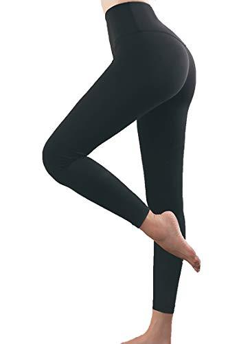 YTUR Leggings para mujer, deporte, fitness, yoga, cintura alta, opacos, con bolsillos Negro S