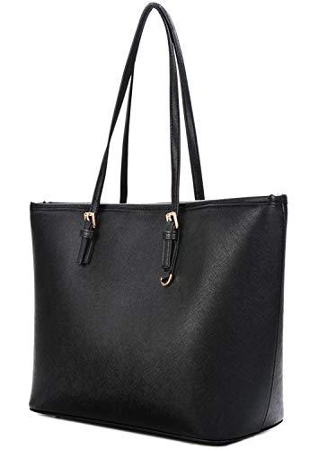 Damen Handtaschen, Coofit Handtasche Schwarz Leder Tasche Damen Shopper Tasche Groß Damen...