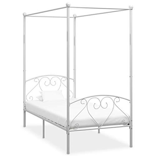 vidaXL Himmelbett Bett Bettgestell Einzelbett Metallbett Bettrahmen Lattenrost Schlafzimmerbett Schlafzimmermöbel Ehebett Weiß 90x200cm