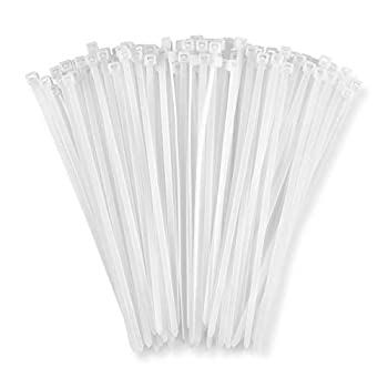 Zip Ties 6   100 Pack  40lb Strength White Nylon Cable Wire Ties By Bolt Dropper.