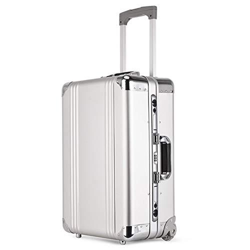 ZhengFei Handgepäck Business Aluminium-Magnesium-Legierung Koffer Räder Cabin Trolley Reisetasche 100% Metallic Rollgepäck Caster Men (Farbe : Silver, Luggage Size : 20')