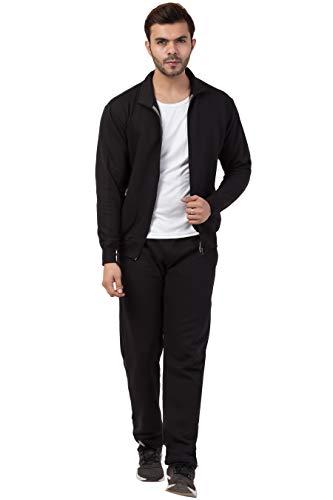 Corsair Men's Zipper Plus Size Winter Wear Fleece Track Suit Regular Fit Casual Solid Plain 2 Piece Set Combo M – 5XL Black Blue