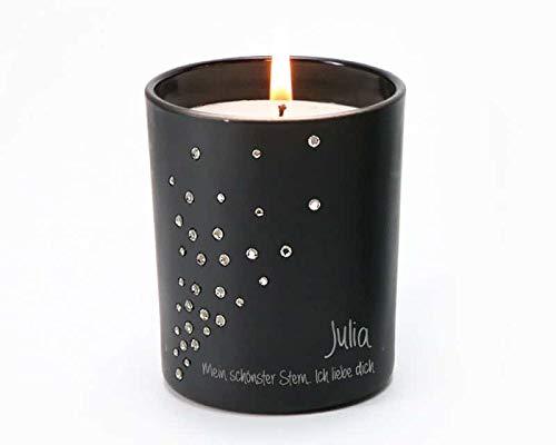 Kerze mit gravur und Swarovski®-Steine - gravierte Duftkerze personalisiert mit Namen und Botschaft, Duft Vanille - 35 Stunden Brenndauer - Sternenstaub - Geschenkidee zu Weihnachten, zum Geburtstag