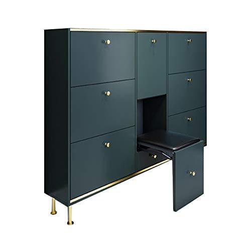 DUTUI Nordischer Luxus Ultradünner Schuhschrank 24 cm Moderner Minimalistischer Haupteingang Großraum-Kippschuhschrank Mit Hocker,Blau