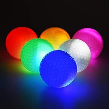6pcs Glow Golf Balls Glow in The Dark Golf Ball Flashing Bright Night Long Lasting Golf Balls for Sport Outdoor Golfing 6 Colors