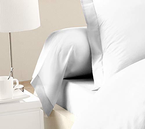 Home Passion–Lote de 2Fundas de traversin 85x 185cm, 57Hilos 100% algodón Color Blanco 185x 85x cm