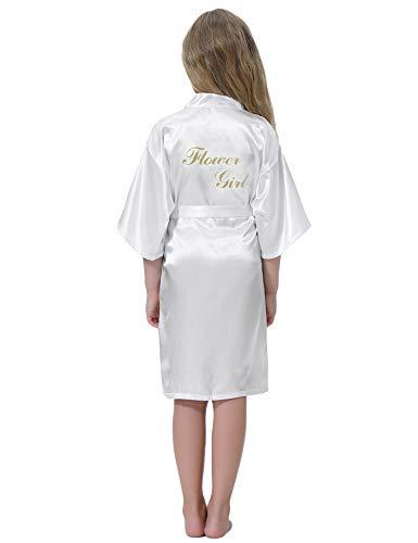Aibrou Niñas Raso Kimono Túnicas Boda Dama de Honor Albornoz para Niños Satén de Seda Batas y Kimonos para Niñas Ropa de Dormir de Novia de Noche de Flores de La Boda