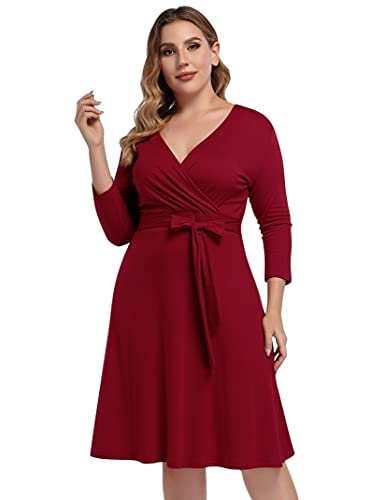 AMZ PLUS Womens V-Neck 3/4 Sleeve A Line Midi Faux Wrap Plus Size Cocktail Party Swing Dress Wine red 2XL