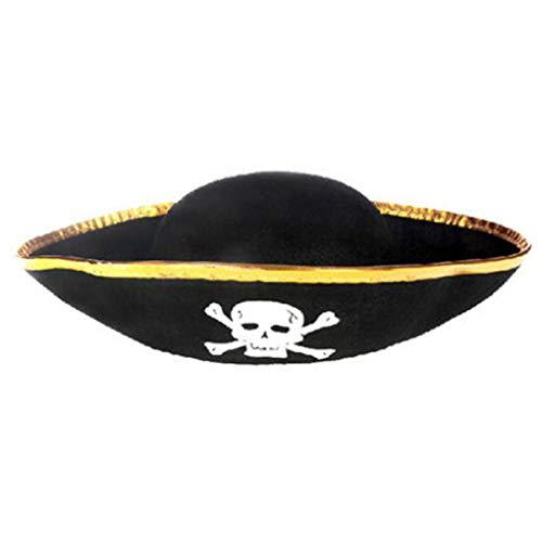 ZZALLL Sombrero de Pirata Tri Corner - Sombrero Accesorio para Disfraz de bucanero de Tres Picos