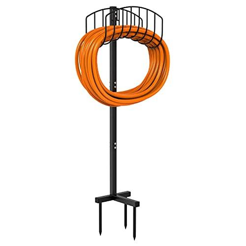 Tikola Garden Hose Holder, Detachable Metal Water Hose Holder Hanger Free Standing Garden Hose Stand For Outside Yard, Black