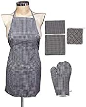 Yazlyn Collection Rexine Waterproof Kitchen Apron with Front Pocket with Oven Gloves and Napkin/Cleaning Cloth Combo Set (Grey)