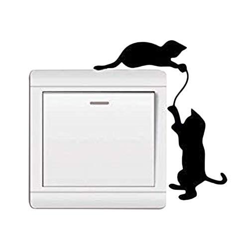 Demarkt Wandtattoo für Lichtschalter Katze Dekoration