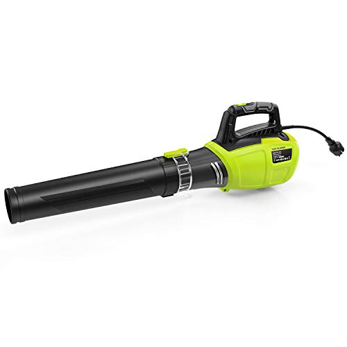 REYLEO Electric Leaf Blower, Corded Leaf Blower 13 Amp, Variable Speed of 85 MPH & 105 MPH, 570 CFM Axial Flow Leaf Blower, Quick Installation, Compact Storage