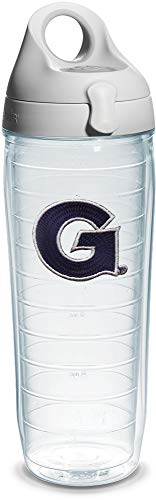 Tervis Georgetown University Emblem Individual Water Bottle with Gray lid, 24 oz, Clear